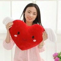 جميل الوردي/الأحمر الحب القلب أفخم لعب 50 سنتيمتر القطيفة الجناح القلب القماش دمية النوم وسادة لينة وسادة للأطفال اللعب هدية عيد