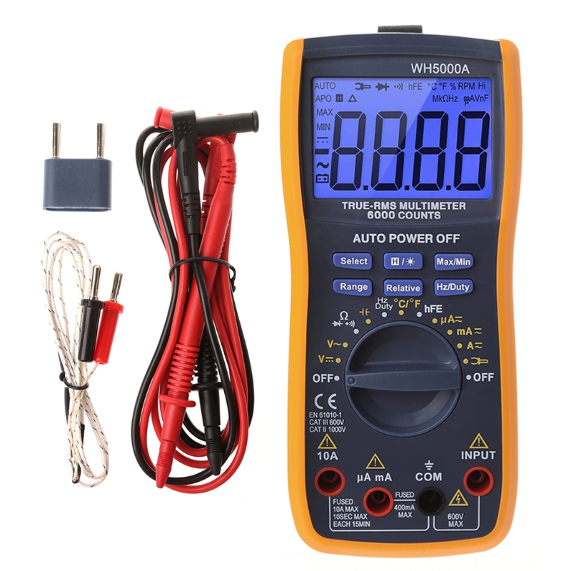 Digital Multimeter 6000 Counts Auto Ranging Voltage Tester Backlight LCD Display