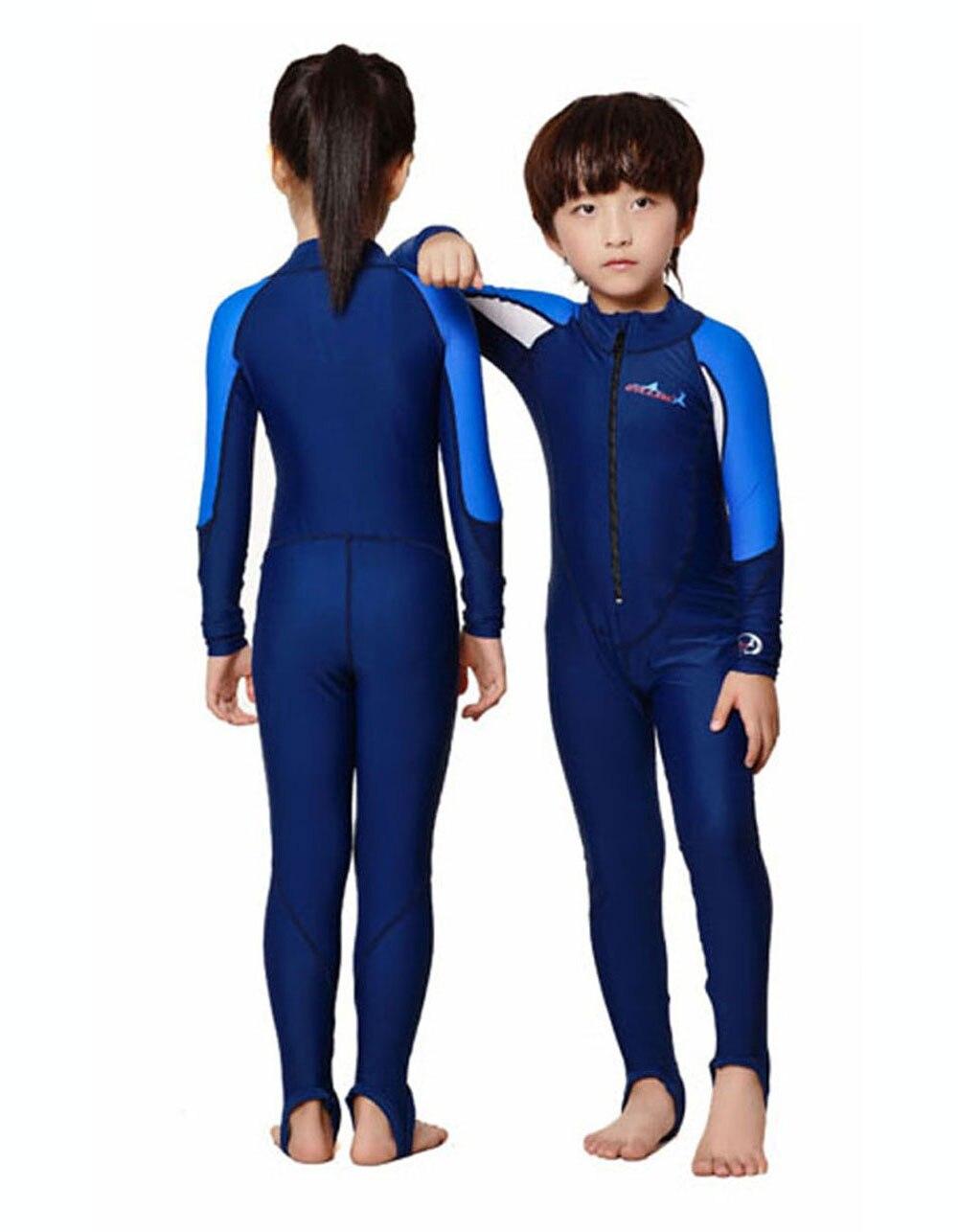 Kids Swim Suit Youth Basic Skins Long Sleeve Jumpsuit Crew Rash