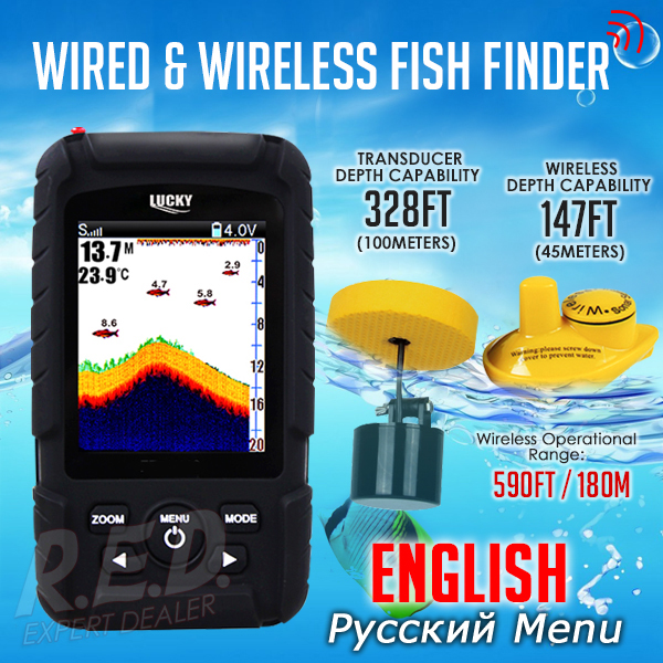FF718LiC 2-in-1 LUCKY Fishfinder Wireless/Wired Sensor English/Russian Menu 590ft/180m Waterproof Monitor Rechargeable Battery