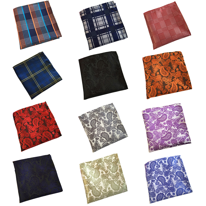 RBOCOTT Men's Blue Plaid Pocket Squares Paisley Handkerchiefs Dot Hanky 25cm*25cm For Men Red Wedding Business Accessories
