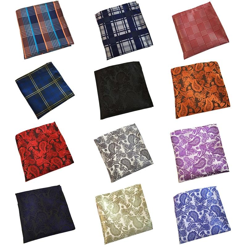 RBOCOTT Men's Blue Plaid Pocket Squares Paisley Handkerchiefs Dot Hanky 25cm*25cm For Men Red Wedding Business Accessories