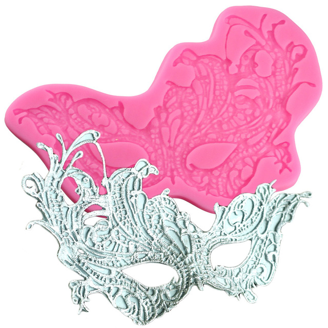3D Masquerade Lace Mask Fondant Molds Party Cake Border Silicone Mold Decorating Tools Candy Chocolate
