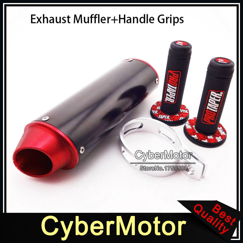 38mm CNC Aluminum Exhaust Muffler Red Throttle Handle Grips For CRF50 CRF70 Thumpstar SSR YCF BSE Lifan Chinese Pit Dirt Bike crf50 frame battery box dirt pit bike case holder off road motorcycle apollo 110 chinese motocross
