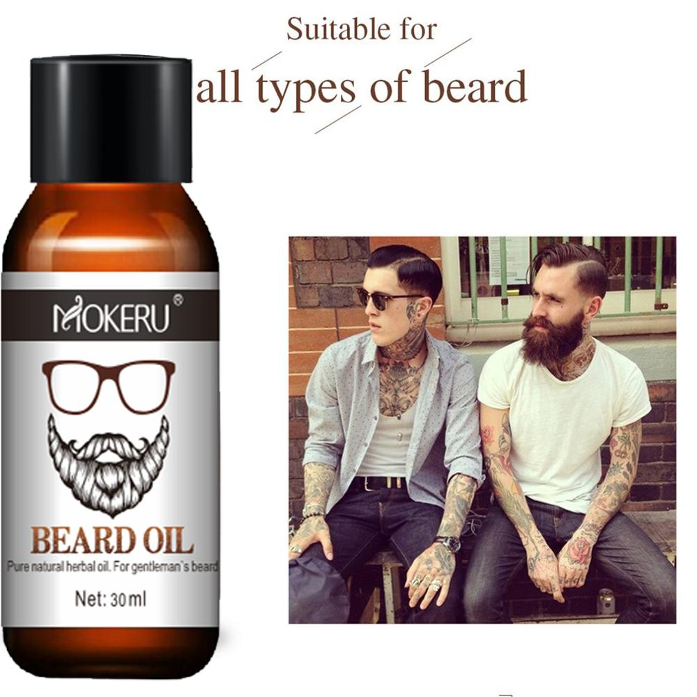 Mokeru 100% Natural Organic Men Beard Growth Oil Products Hair Loss Treatment Conditioner For Groomed Fast Beard Growth 30ml 3