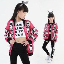 Детская одежда в стиле хип-хоп, Джаз Повседневная рубашка, Толстовка Топы, штаны для бега танцевальная одежда для девушек, костюмы, одежда для бальных танцев