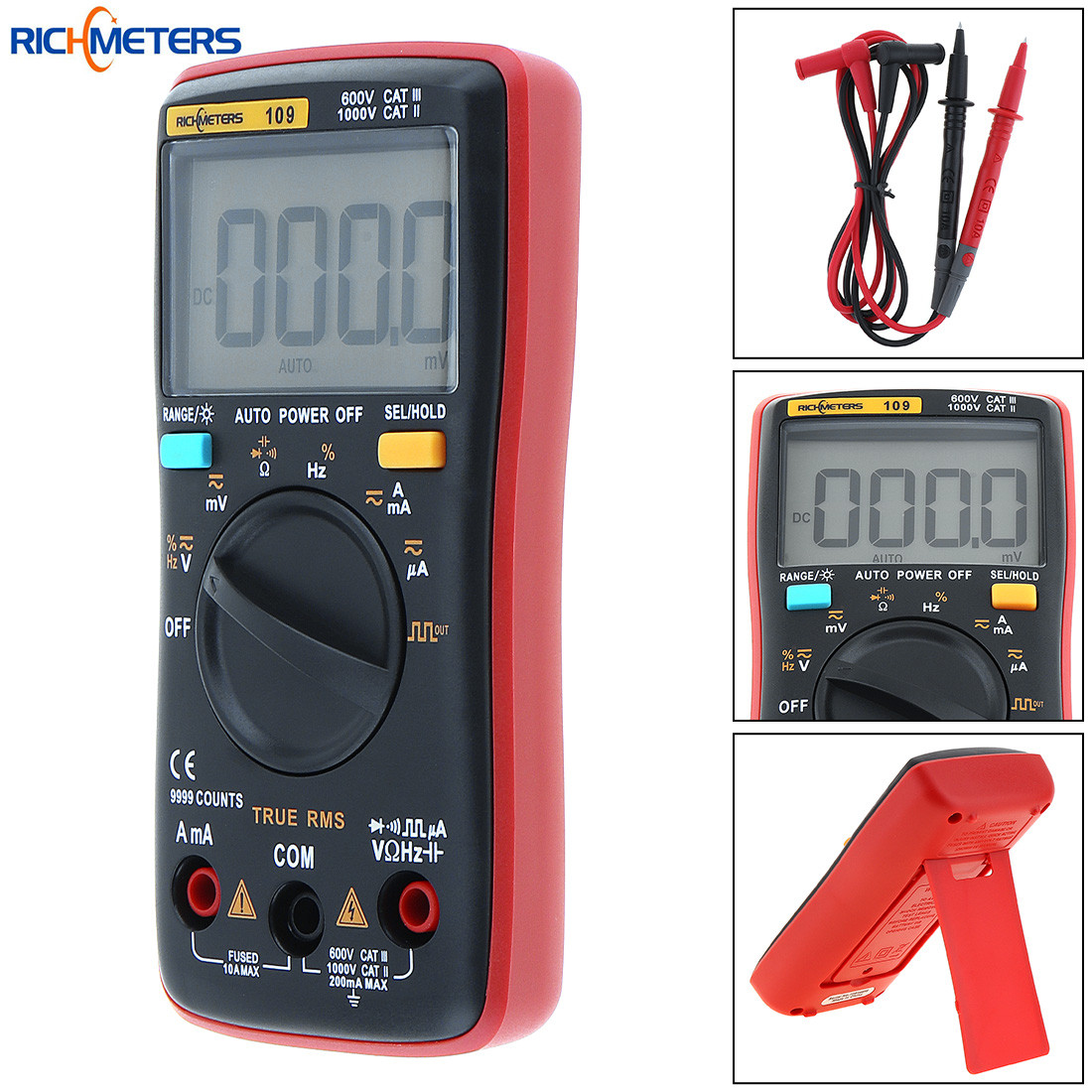 LCD Display 9999 Counts Digital Multimeter AC DC Voltage Current Tester Multi Meter Support Data Hold and Square Wave Output an8206 overload protection mini digital multimeter lcd large screen display wave output ampere voltage ohm tester multimeter