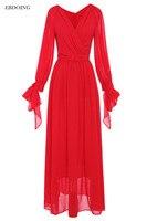 Красного цвета 2018 Мать невесты платья v образным вырезом декольте Длинные рукава длиной до пола халат de Soiree Формальные особых поводов плать