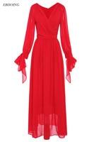 Red Color 2018 Mother Of Bride Dresses V neck Neckline Full Sleeves Floor length Robe de Soiree Formal Special Occasion Gowns