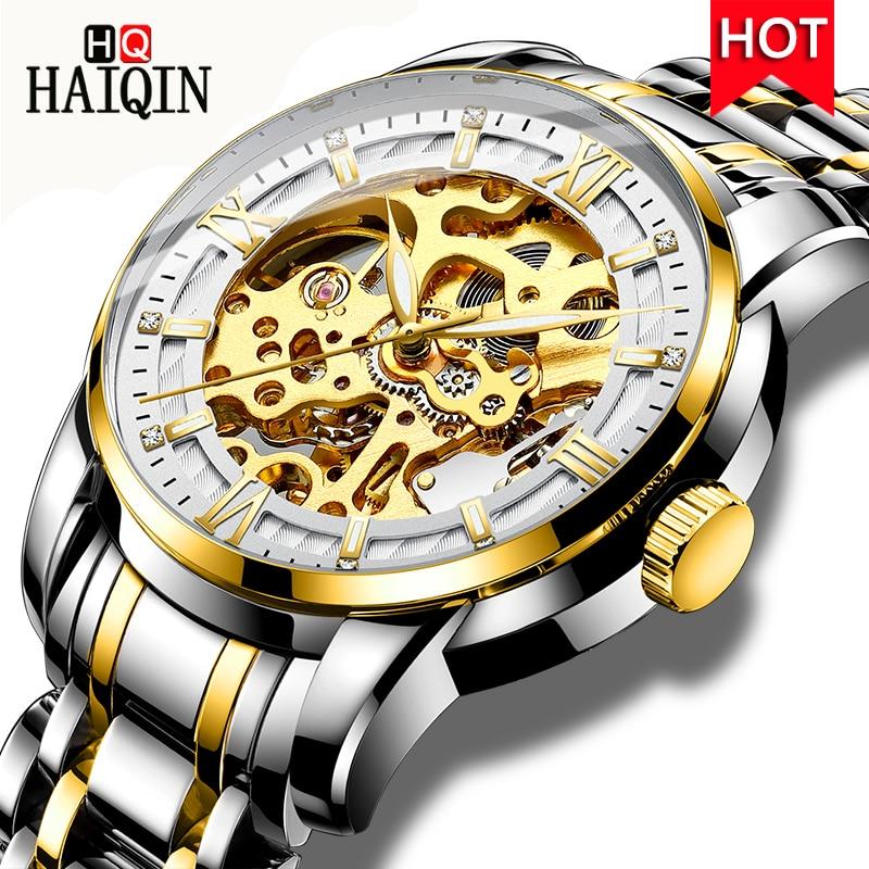 HAIQIN Automatic Skeleton Mechanical Watch Men Luxury Business Wristwatch Waterproof Stainless Steel Watch Relogio Masculino