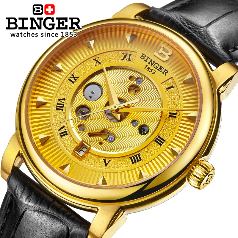 Sapphire Switzerland Automatic Mechanical Watch Men Stainless Steel Reloj Hombre Wrist Watches Male Skeleton Waterproof B-1160-1 switzerland mechanical men watches binger luxury brand skeleton wrist waterproof watch men sapphire male reloj hombre b1175g 1