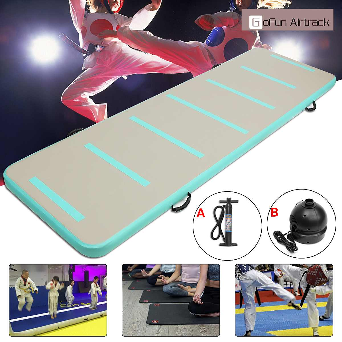 GoFun 90cm*3m*10cm Inflatable Air Track Floor Home Gymnastic Cheerleading Tumbling Mat GYM with Hand Pump/110V/220V air pumpGoFun 90cm*3m*10cm Inflatable Air Track Floor Home Gymnastic Cheerleading Tumbling Mat GYM with Hand Pump/110V/220V air pump