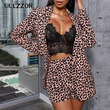 UULZZOR Leopard printed women blazer sets Ol Suit Female Bla