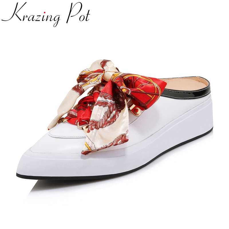 2019 cow leather butterfly knot brand Spring shoe pointed toe sneaker wedge casual platform slingback women