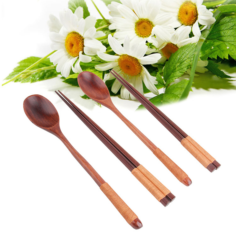 1Set Wooden Sets Traditonal Chinese Dinnerware Tools Wood Scoop Set Combinations Dinnerware Sets