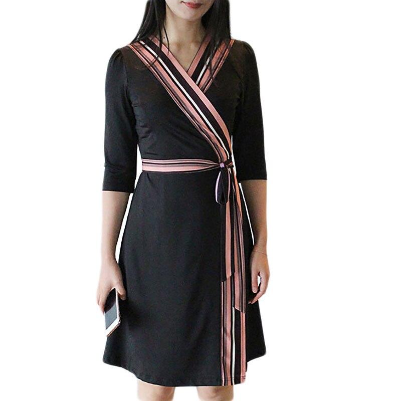 Femmes col en v manches courtes tricoté noir Wrap robes bureau dames tenue décontractée Robe Femme 2019
