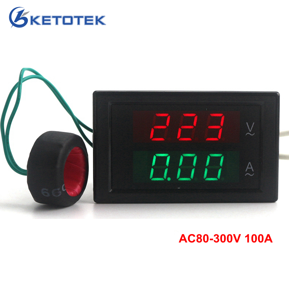 AC80-300V AC 0-100A Led volt amp meter voltage meter current meter ampere panel meter voltmeter ammeter digital Free shipping ...