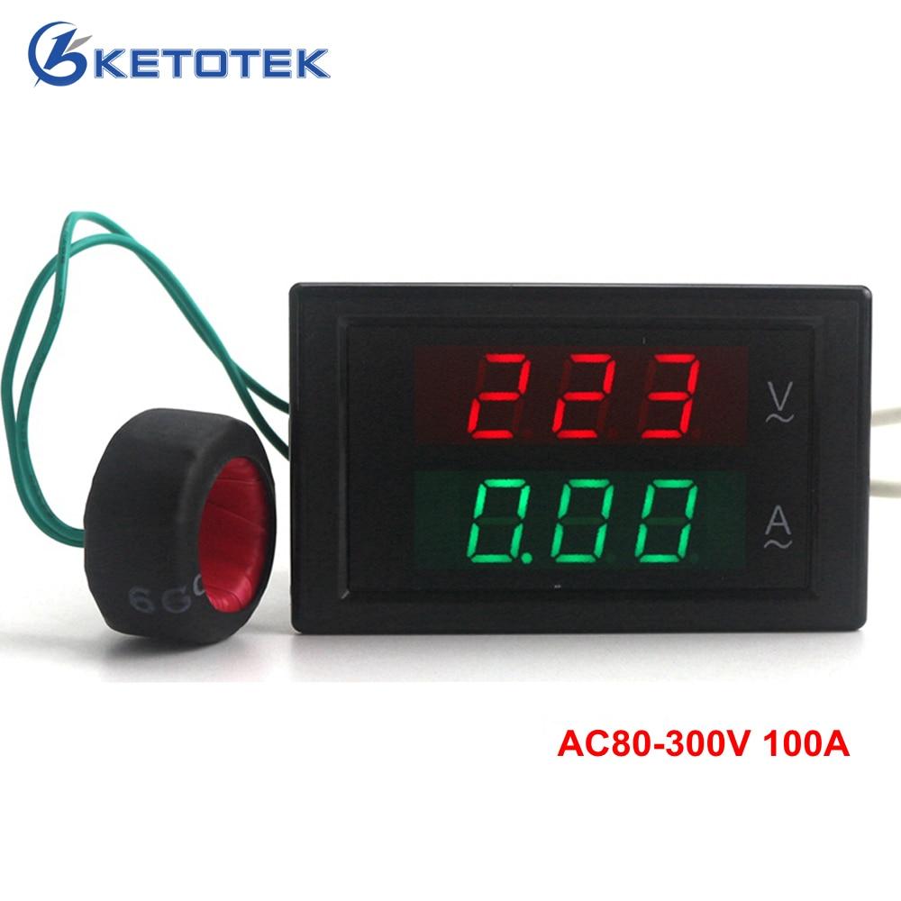 Voltmetro Amperometro Digitale AC 80-300V 0-100A Amplificatore di voltmetro a led misuratore di tensione misuratore di corrente misuratore di pannello ampere