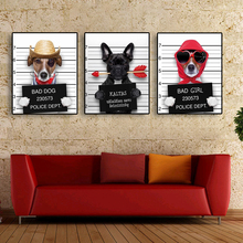Laeacco Canvas Painting Calligraphy Cartoon Mr. Dog Bad Girl Animal Posters Prints Wall Art Living Room Nordic Home Decoration