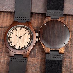 Image 3 - Часы мужские из эбенового дерева BOBO BIRD, японские кварцевые деревянные наручные часы t, подарок для мужчин, принимаем логотип