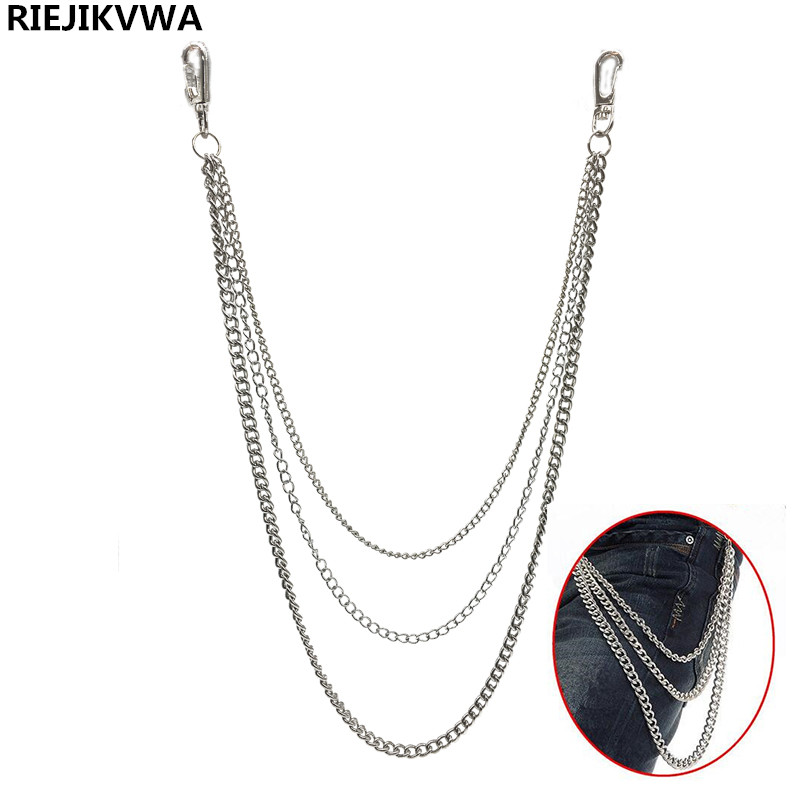 25.2 Three Strands Metal Wallet Chain Silver 3Layer Rock Punk Hook Biker Trousers Pant Waist Link Belt Chain Fshion Men Jewelry the taste of home cooking cold dishes stir fried dishes and soup chinese home recipes book chinese edition step by step