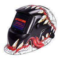 HLZS Auto Darkening Welding Helmet With Solar Powered Adjustable MIG TIG ARC Professional Welding Mask (Devil tooth)