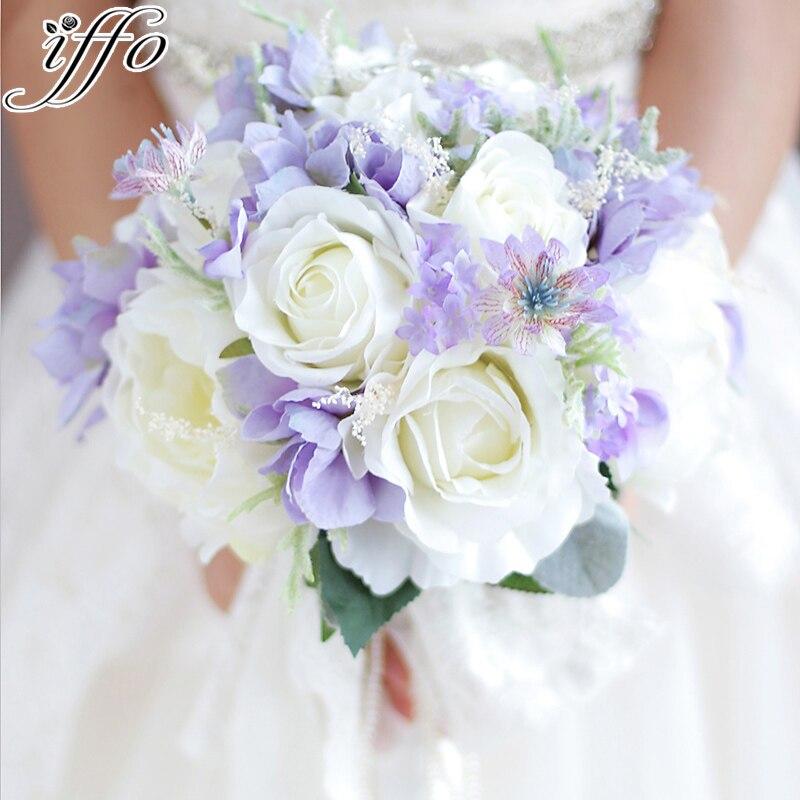 Soie dentelle perles mariée Bouquet pivoines Roses rustique Chic mariage broche bouquet blanc violet brouillard mariée bouquet artificiel