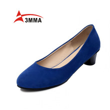 3MMA 2016 Handmade Large Size Suede Office High Heels Round Toe Heel Basic Black Career Pumps Shoes for Women Slip on Solid