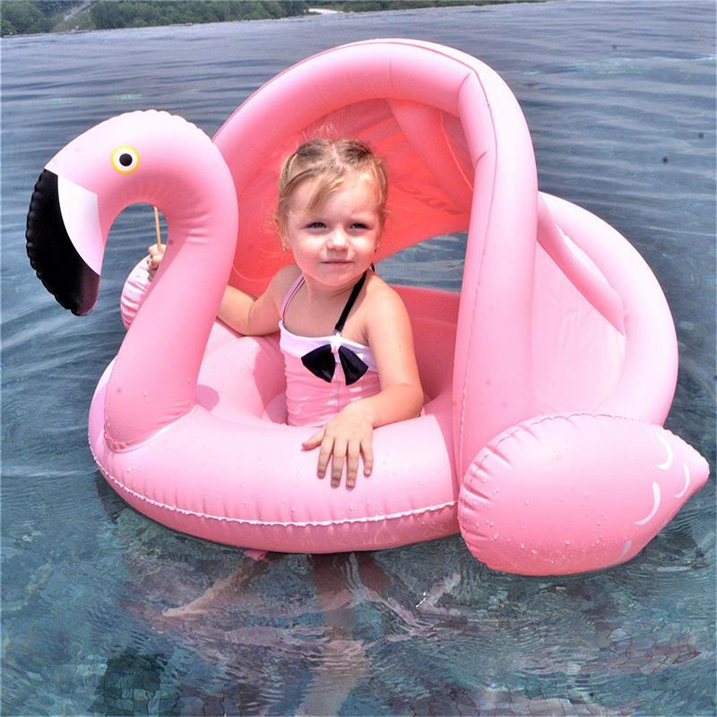 Baby-Shade-Swim-Float-Circle-Ring-Safe-Inflatable-Flamingo-Baby-Arm-Rings-Kids-Swimming-Seat-With