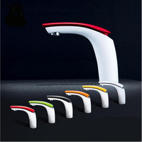 New Hot sell Brass Baking finish bathroom basin Faucet / Fashion 12 Colors Hot and Cold Water Mixer Tap White tap Basin mixer