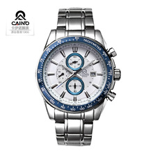 CAINO SPEED Series Top Luxury Brand Fashion Stainless Steel Strap 3 Timer Circles Dial Quartz Men