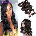 4 Bundles Brazilian Body Wave With Closure Light Brown Brazilian Virgin Hair Weave With Closure Body Wave Human Hair Bundles