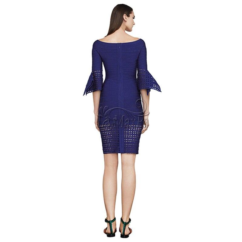 blanc 2017 Bleu Robes New Bleu Manchette Blanc Piste Bourgeon Out Summer Chic Bandage Femmes Partie Moitié Robe Creux Manches rPU4rqxnw
