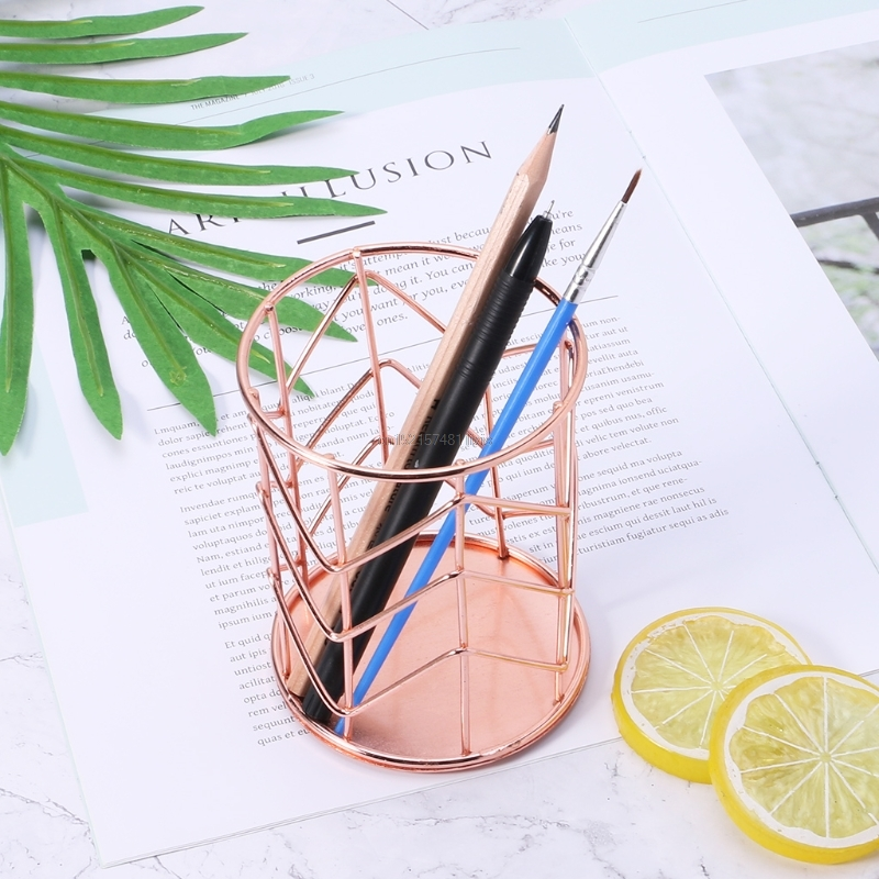 New Rose Gold Pen Pencil Pot Holder Container Organizer Home Desk Stationery Decor