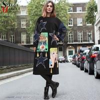2018 Women Winter Stylish Black Midi Casual Dress Long Sleeve Denim Stars Style Plus Size Cute Wear Midi Dress Party Dress 3102