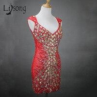 Gorgeous Prom Vestidos Largos de Cristal MC Personalizada Mujeres Vestido Atractivo de La Sirena Red Carpet Prom Vestidos Formales Vestido de Festa Longo