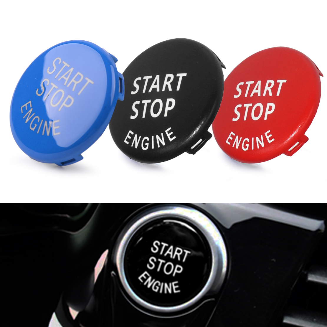 CITALL Engine Ignition Switch Start Stop Push Button Ring Trim Cover