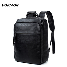 Vormor 2017 marca 14 15 pulgadas laptop backpack hombres y mujeres de negocios de cuero bolsos de escuela mochilas para adolescentes bolsa de viaje