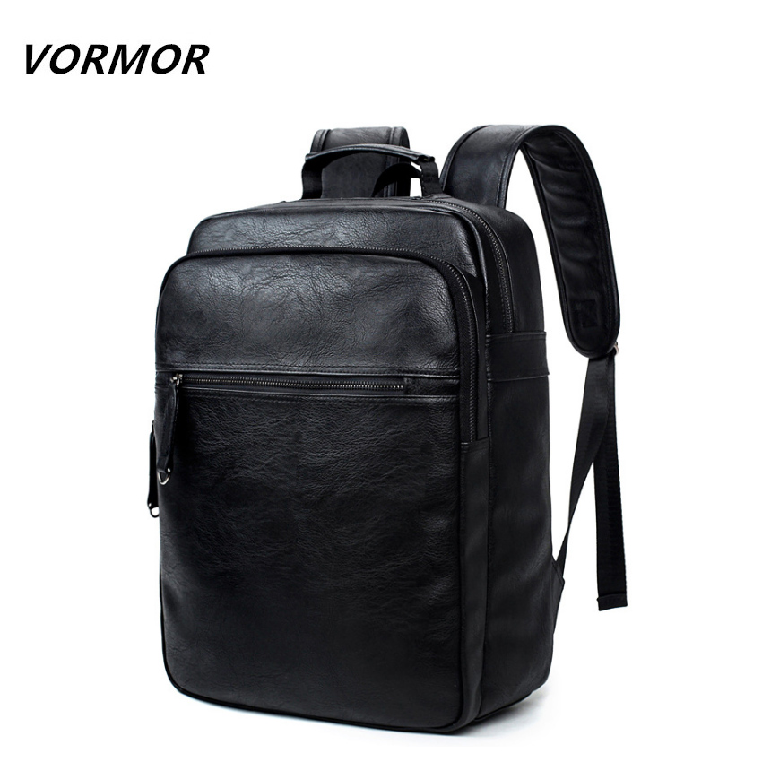 VORMOR Men Leather Backpack High Quality Youth Travel Rucksack School Book Bag Male Laptop Business bagpack mochila Shoulder Bag цена