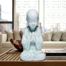 Household act the role ofing is tasted green glaze ceramic Buddha young monk furnishing articles creative home decorations цена