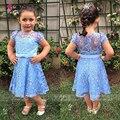 Lovey High Quailty Flower Girl Dresses for Weddings Lace Blue Birthday Dresses Vestido De Daminha SA795