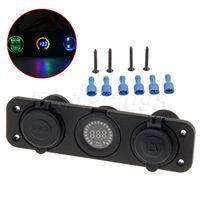 Yetaha USB Socket Splitter Motor Car DC Digital Voltmeter 12V 3 Hole Panel Power Dual USB Car Electronics Cigarette Lighter