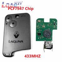 2 boutons PCF7947 puce 433Mhz clé de voiture à distance pour Renault Laguna Espace vel-satis carte à puce à distance avec logo