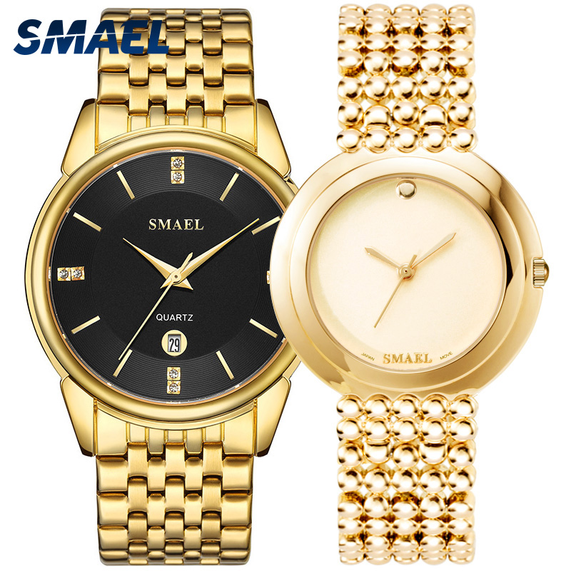 SMAEL luxury classic watches SET for couple gens a ladys waterproof casual wristwatch Elegant 9026 1885M Quartz digital clockSMAEL luxury classic watches SET for couple gens a ladys waterproof casual wristwatch Elegant 9026 1885M Quartz digital clock