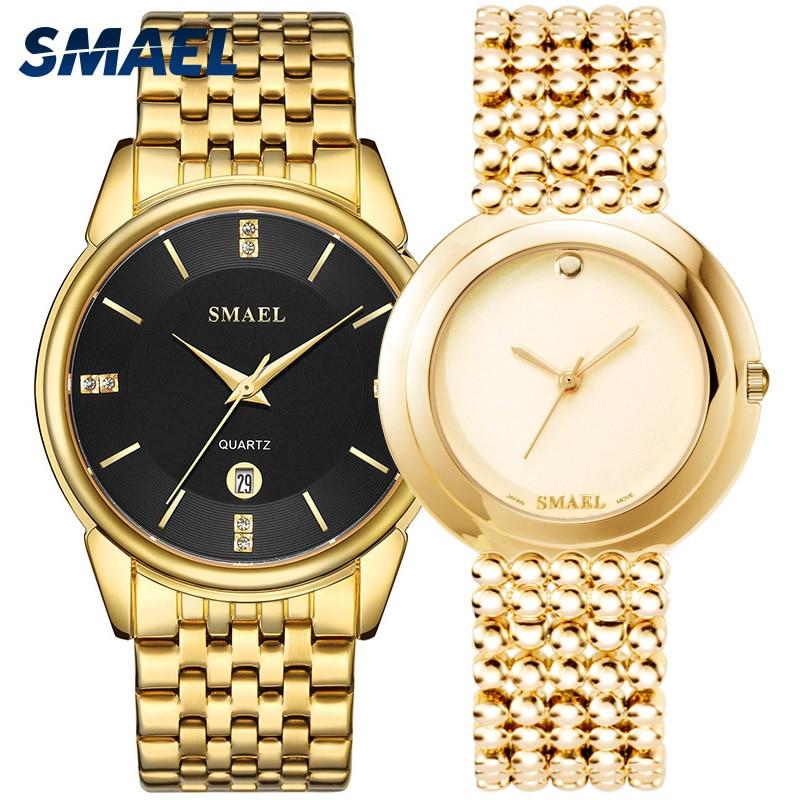 SMAEL Luxury Classic Watches SET For Couple Gen's A Lady's Waterproof Casual Wristwatch Elegant 9026 1885M Quartz Digital Clock