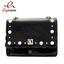 Luxury fashion rivets pearl leather pu leather ladies handbag shoulder bag chain purse women's crossbody mini messenger bag