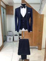 a6ed3069e1905 ... Smokin İyi Adam Parti Balo Blazer 3 Adet resmi takım elbiseler. Elegant  Navy Blue Men Suits For Wedding Slim Fit Ternos Masculino Groom Tuxedos  Best Man ...