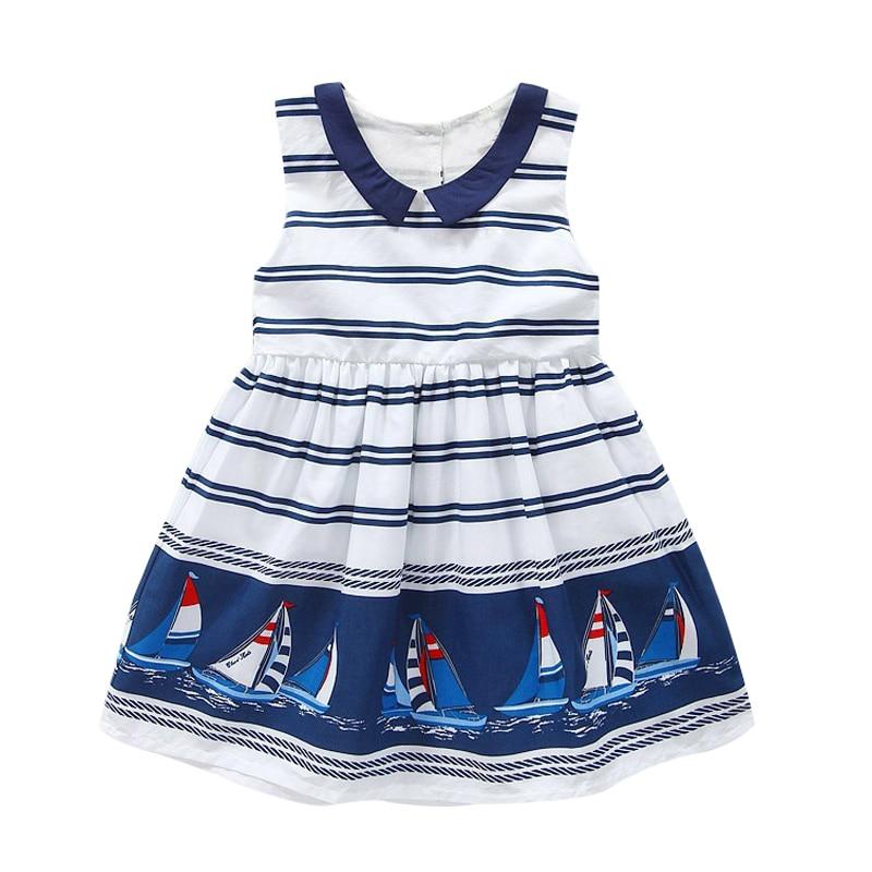 Meiteņu kleita Vasaras apģērbs Bezpiedurkņu flotes svītraina - Bērnu apģērbi