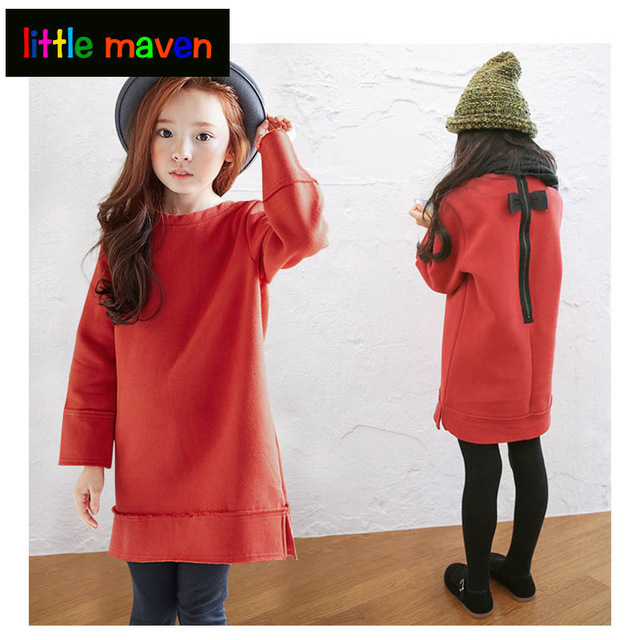 2018 Girls Autumn Dresses shining red Cotton Brand Princess Basic Dress for Party  Girl Toddler Clothes Christmas Gift 3-16 Years 734c5624124e