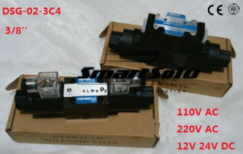 Free shipping DSG-02-3C4 Rc 3/8 solenoid operated directional valve, 220V aC ,Terminal Box Type or plug-in connector type free shipping dsg 03 3c9 220v ac 1 8 solenoid operated directional control valve terminal box type plug in connector type